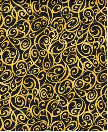 Scroll Swirls - Kona Bay Fabrics BCAR06 - Yellow