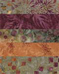 Green, Gold, Burgundy - Batik One-Yard Cuts