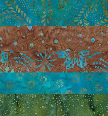 Turquoise, Brown and Green - Batik One-Yard Cuts